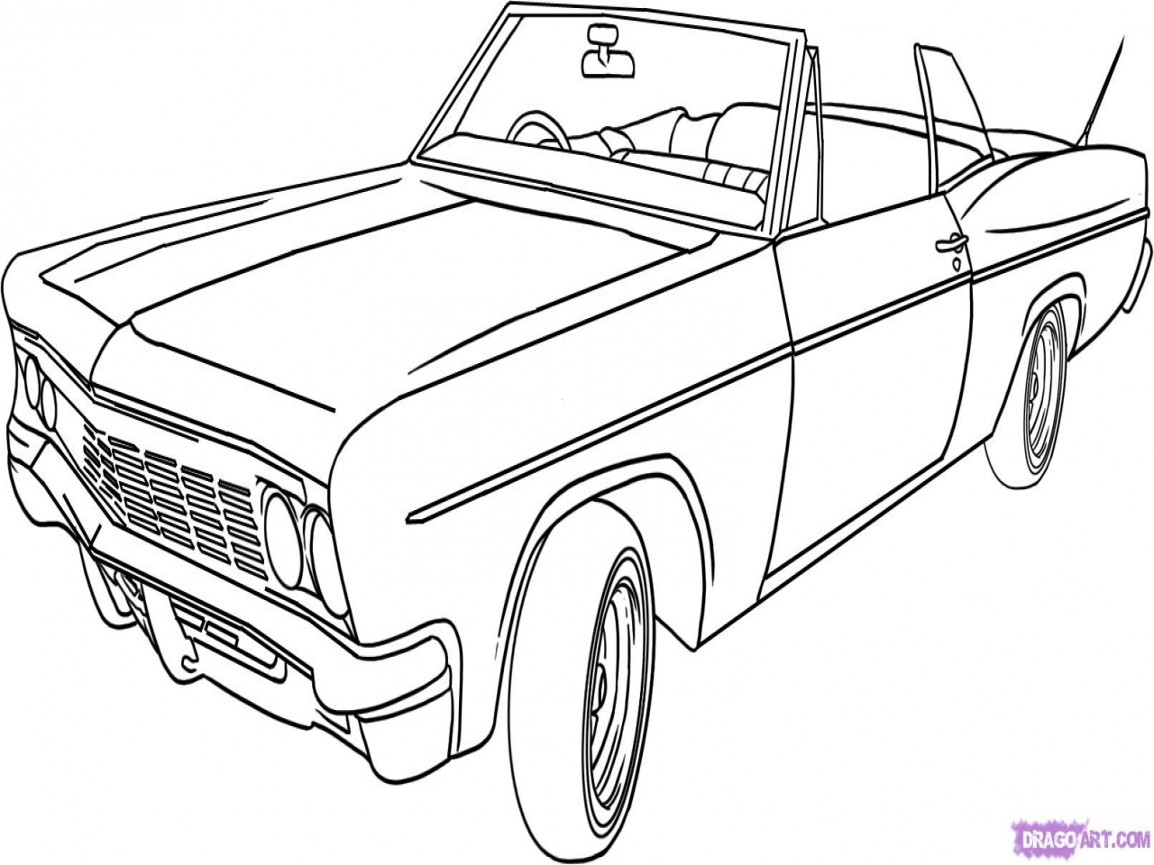 1280x960 Co2 Car Coloring Drawing How To Draw A Lowrider Step By Cars
