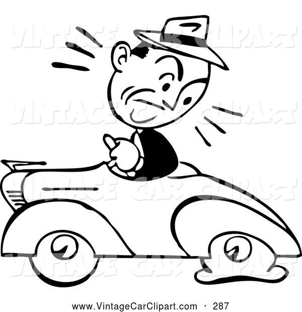 600x620 Clipart Of A Black And White Sketched Retro Man Driving A Car
