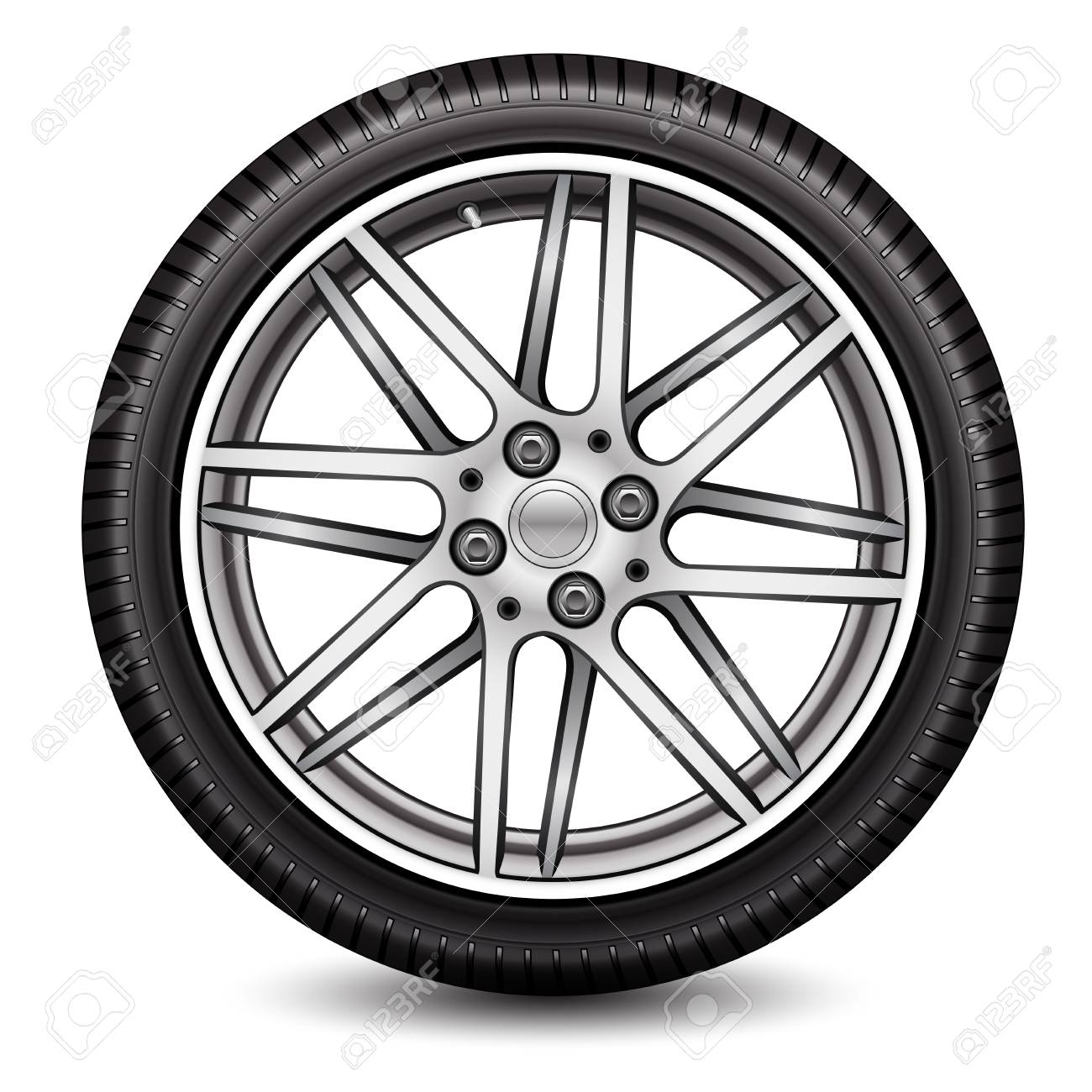 1300x1300 Radial Wheel Car Alloy With Tire On White Background Vector