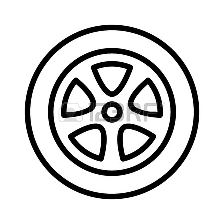450x450 Car, Vehicle Or Automobile Tire Alloy Wheel With Rim Line Art