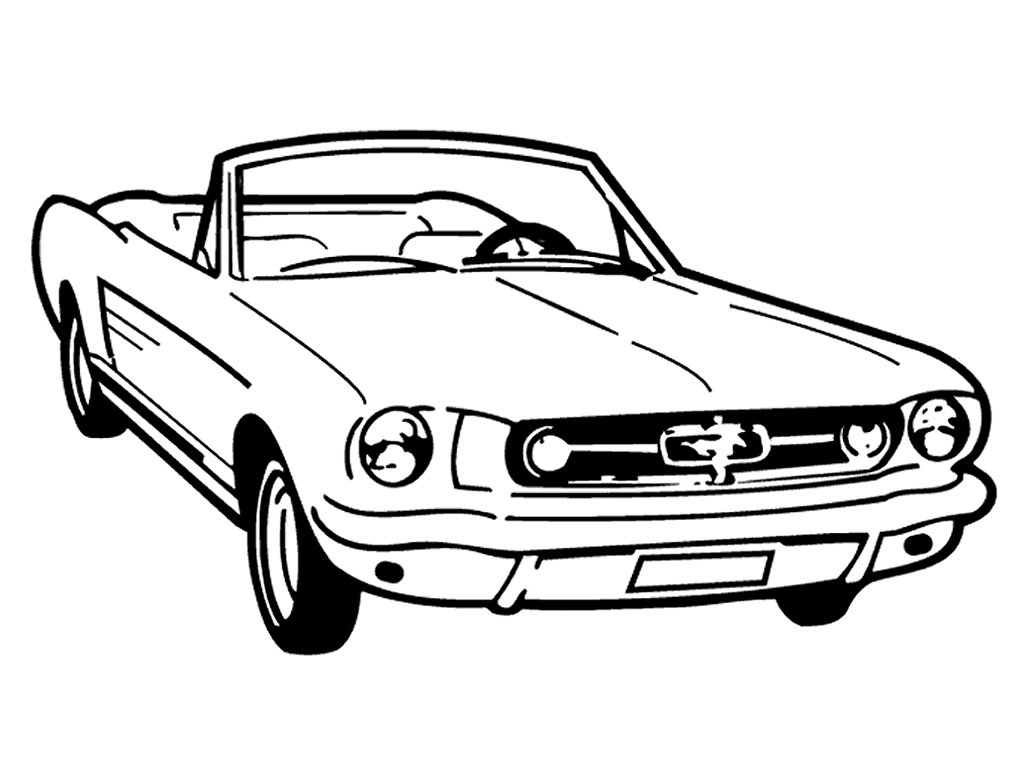 1024x768 Vintage Old School Mustang Convertible Custom Made Decal Wall