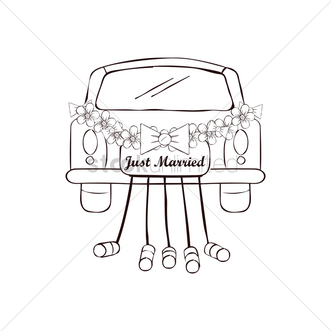 1300x1300 Just Married Car Vector Image