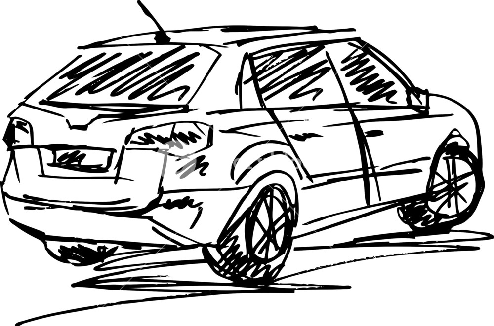 1000x661 Sketch Of A Cars. Vector Illustration Royalty Free Stock Image