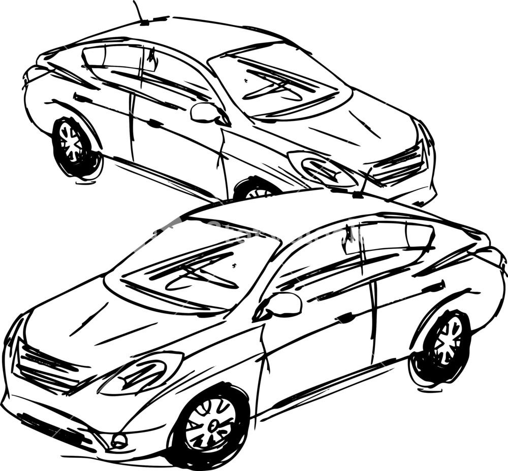 1000x928 Sketch Of Cars. Vector Illustration Royalty Free Stock Image