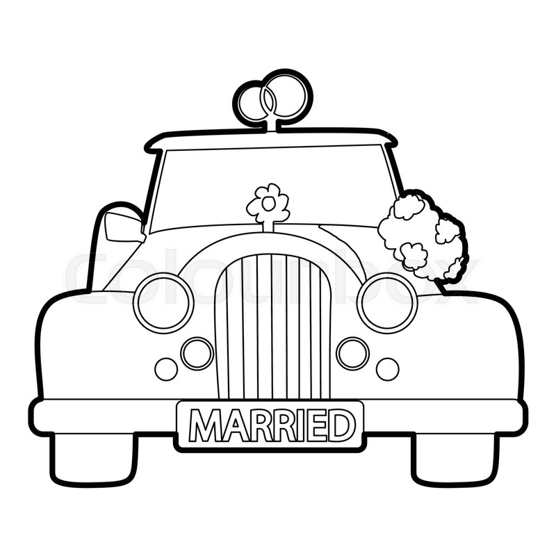 800x800 Wedding Car Icon. Outline Illustration Of Wedding Car Vector Icon