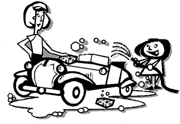 600x412 Mommy And Daughter Car Wash Coloring Pages Best Place To Color