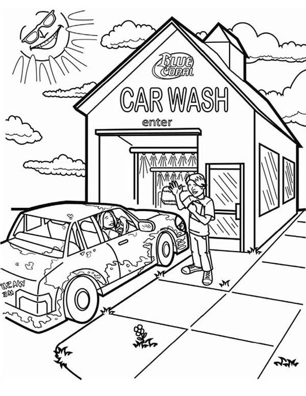 600x776 Car Wash Coloring Page Printable