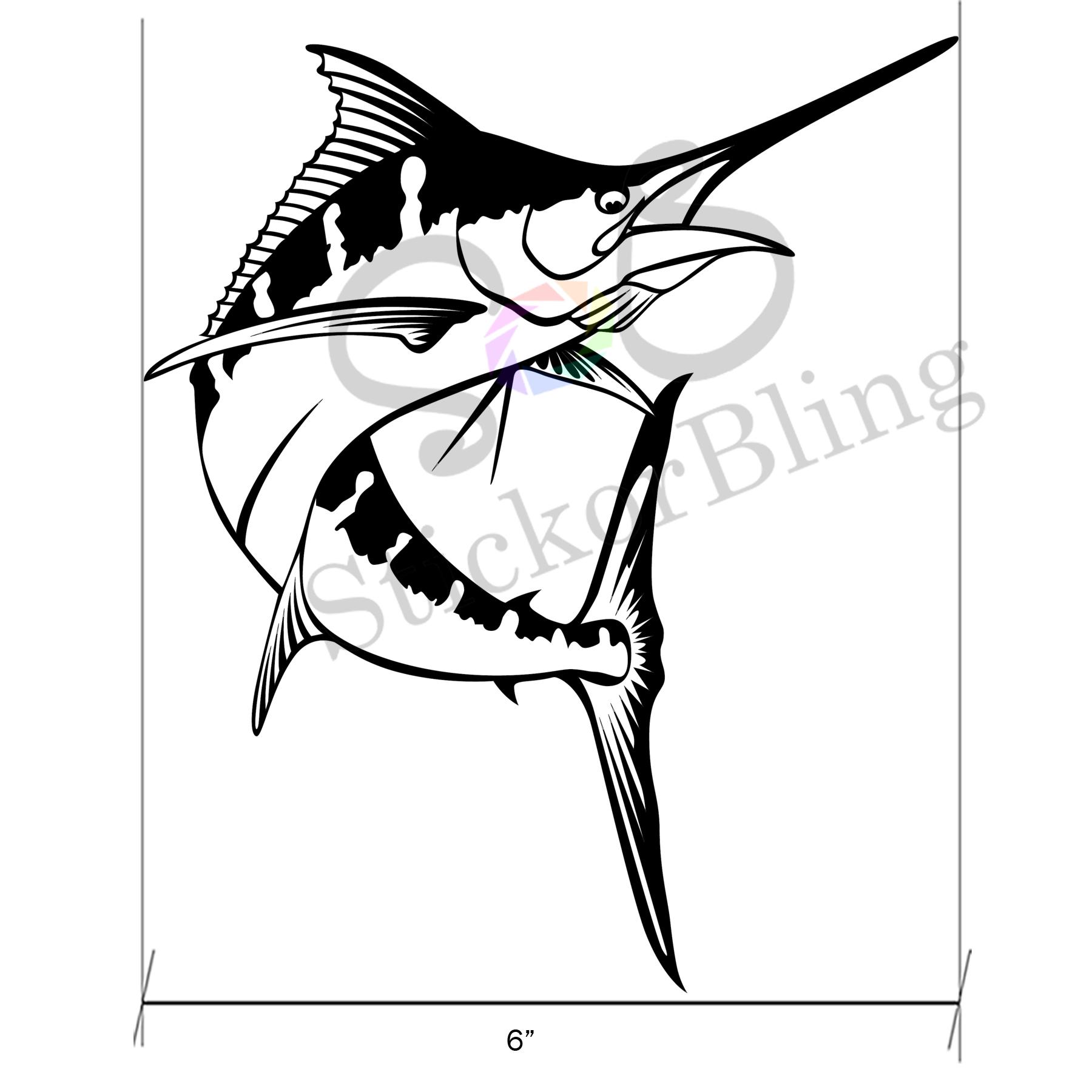 1800x1800 Marlin Fish 6 X 7 Vinyl Decal Sticker Car Window Bumper Computer