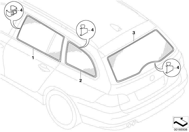 799x559 Bmw Genuine Car Sun Blindshadescreen Side Door Window E61 5
