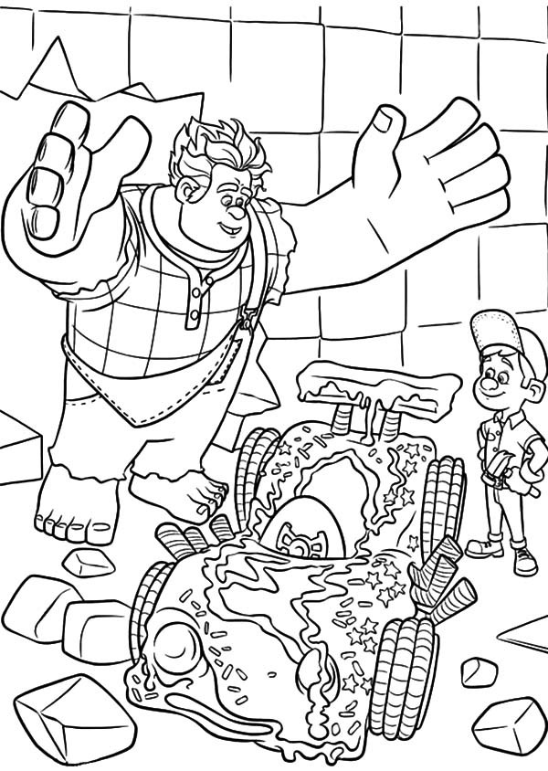 600x844 Wreck It Ralph Is Happy Felix Fix Vanellope's Car Coloring Pages