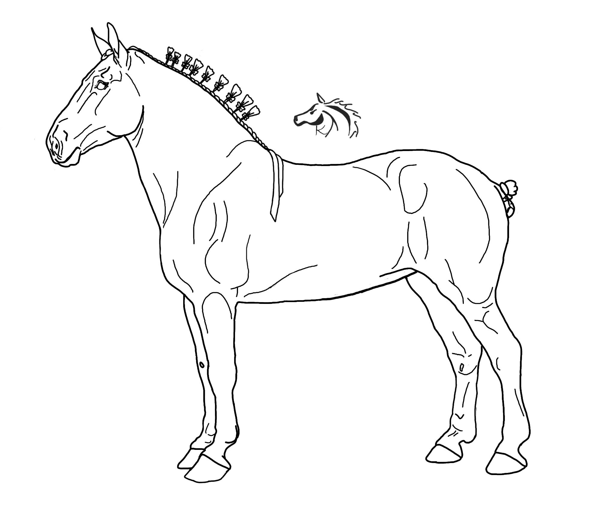 2008x1715 Draft Horse Lineart By