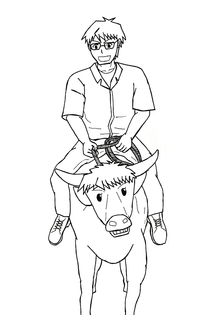 710x1010 Hachiken Rides A Carabao (Draft) By Detectivemask
