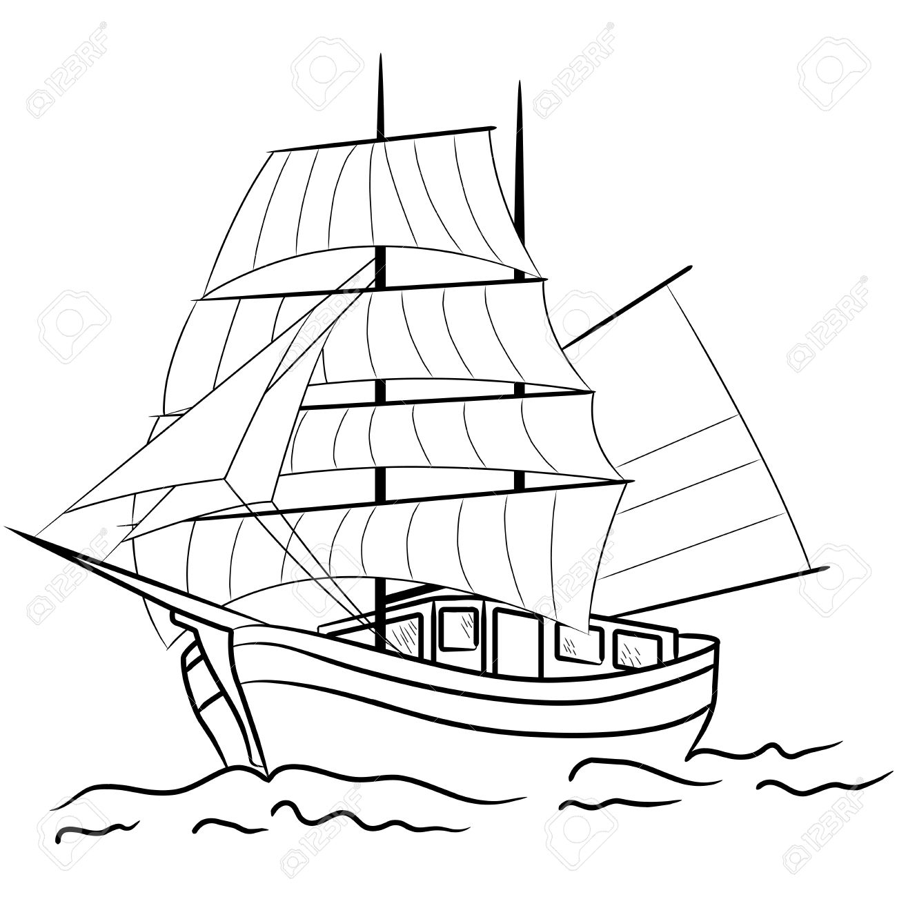 1300x1300 Drawing Of A Ship Vector Drawing Caravel Ship Line Art Stock