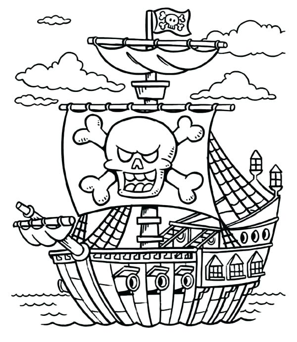 600x692 Excellent Treasure Chest Coloring Page New Pirate Free Pages