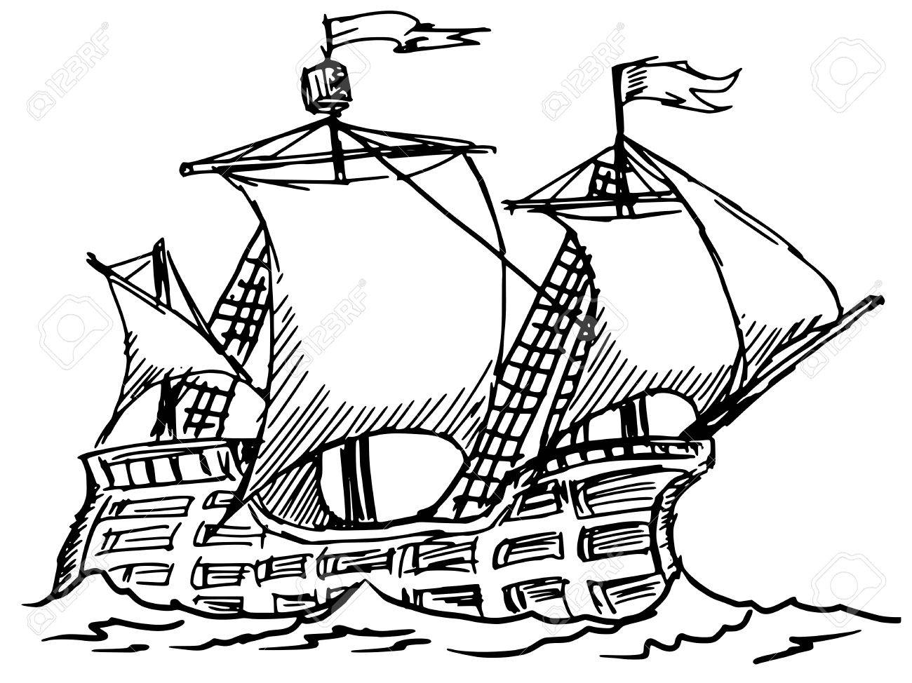 1300x974 Hand Drawn, Sketch Illustration Of Caravel Royalty Free Cliparts