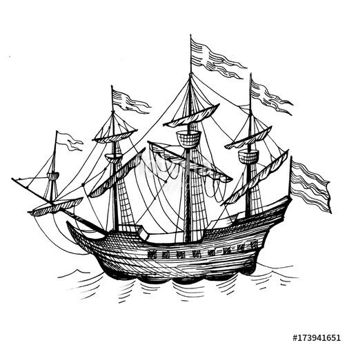 500x500 Old Caravel, Vintage Sailboat. Hand Drawn Sketch. Stock Photo