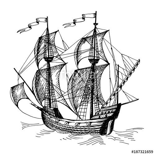 500x500 Old Caravel, Vintage Sailboat. Hand Drawn Vector Sketch. Stock