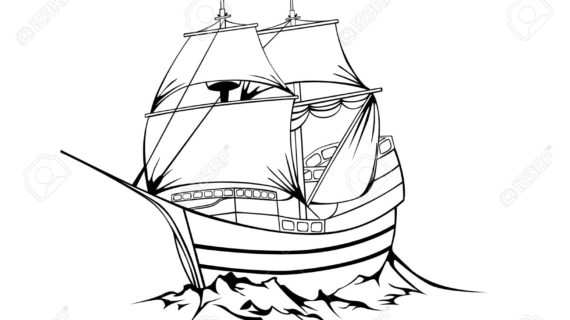570x320 Pirate Ship Line Drawing Black Sailboat On White Background