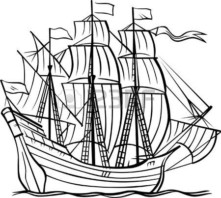 450x403 Ship Caravel On White Royalty Free Cliparts, Vectors, And Stock