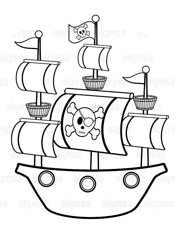 600x777 Simple Pirate Ship Caravel Drawing Coloring Page Simple Pirate