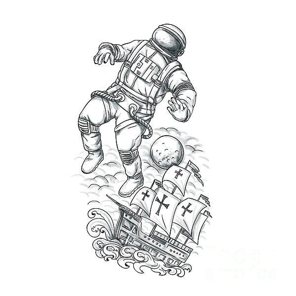 600x600 Astronaut Tethered To Caravel Tattoo Digital Art By Aloysius