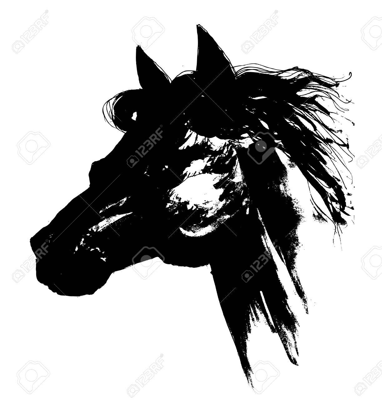1223x1300 Black Horse Head Carbon Drawing Royalty Free Cliparts, Vectors