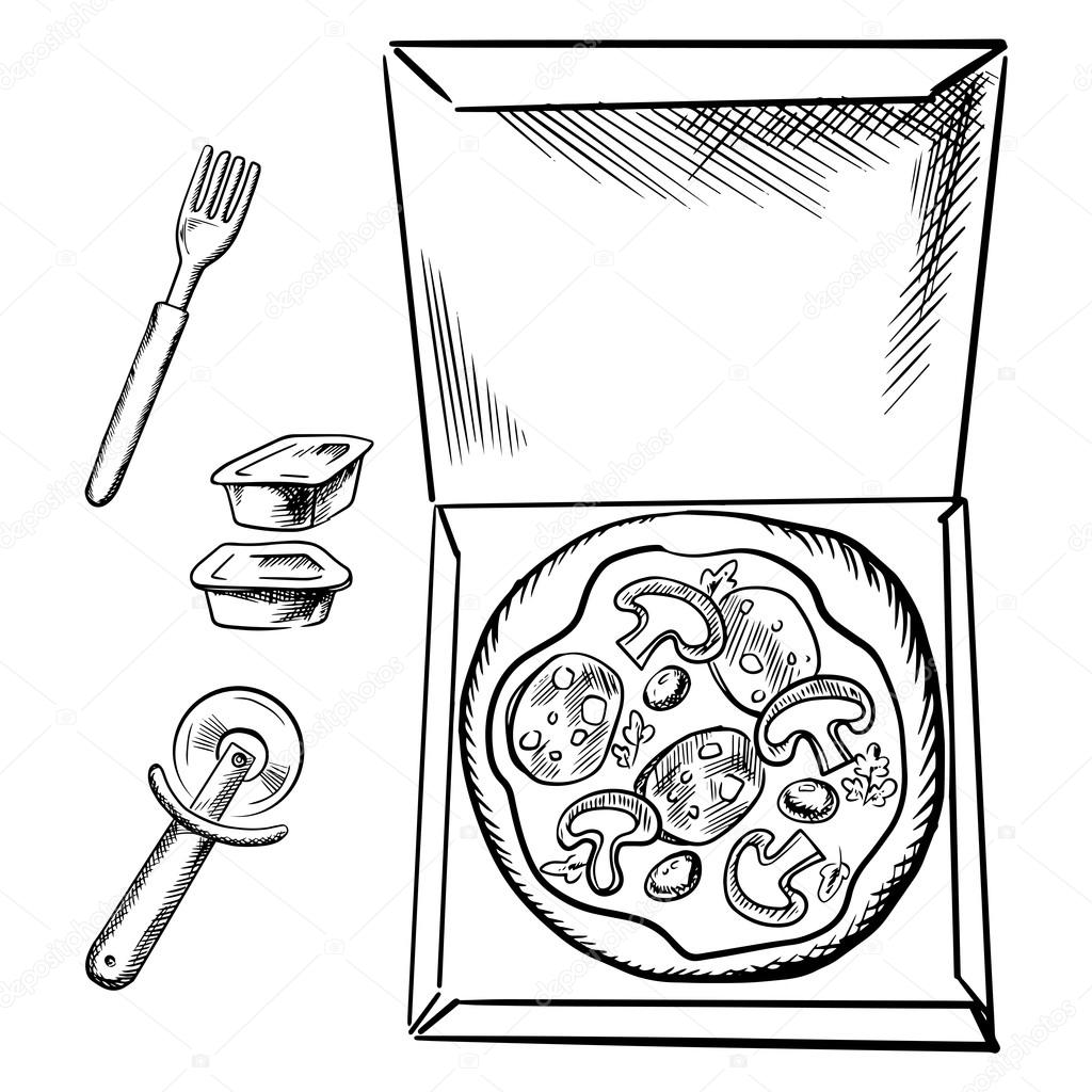 1024x1024 Pizza Box, Sauce Cups, Fork And Cutter Sketch Stock Vector