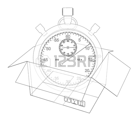 450x400 Stopwatch With Cardboard Box Sketch. Vector Rendering Of 3d