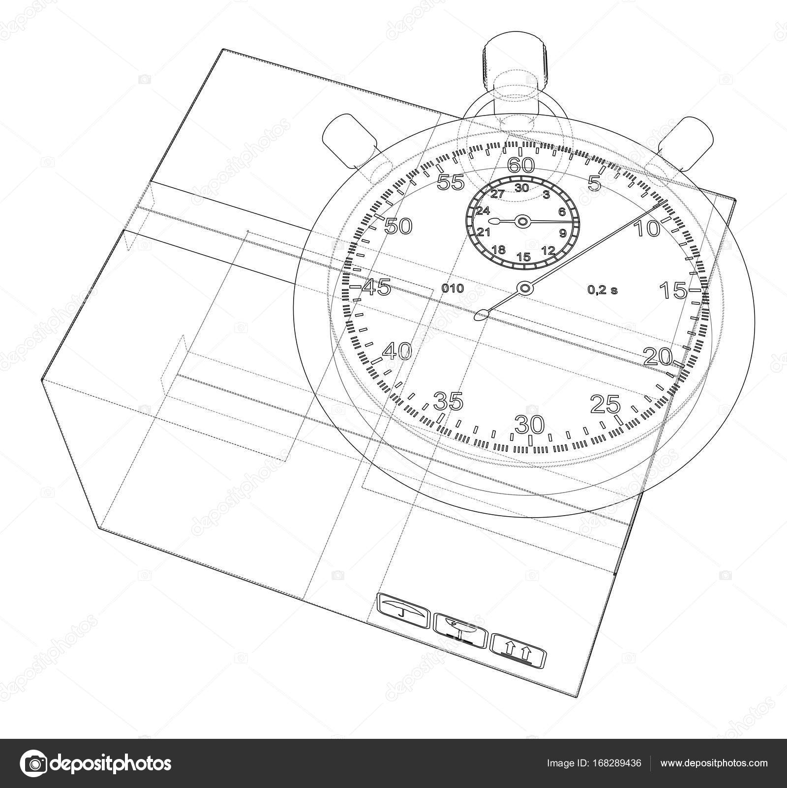 1600x1603 Stopwatch With Cardboard Box Sketch. Vector Stock Vector