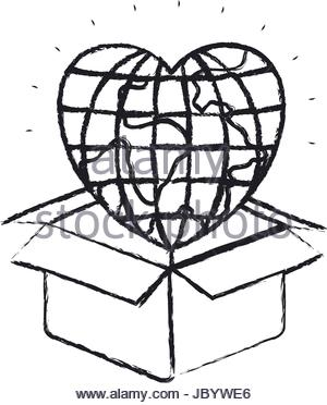 300x372 Blurred Silhouette Heart Coming Out Of Cardboard Box Stock Vector