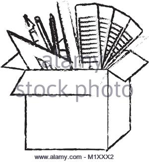 300x327 Cardboard Box With Graph Design Tools In Watercolor Silhouette