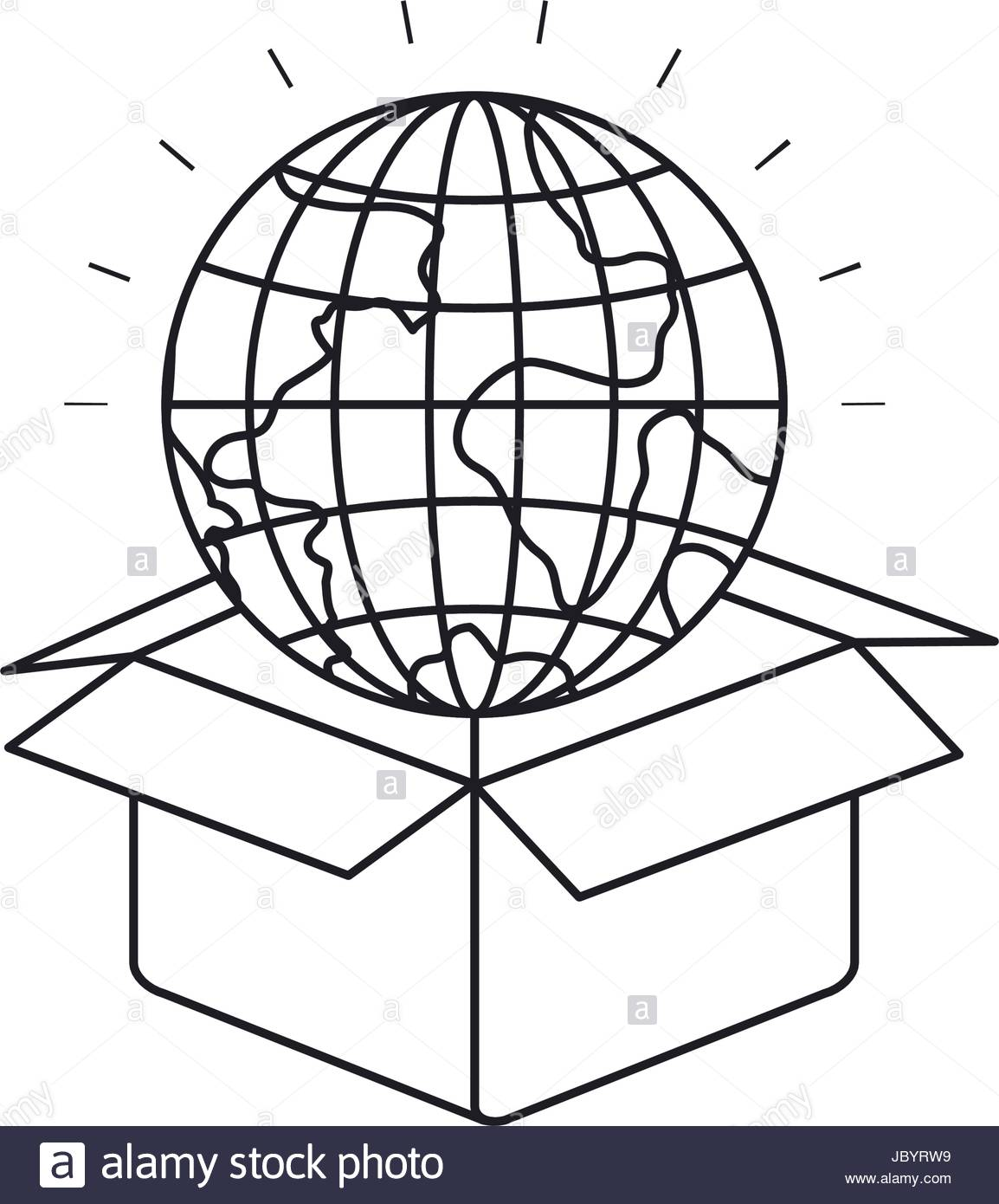 1154x1390 Silhouette Globe Earth World Coming Out Of Cardboard Box Stock