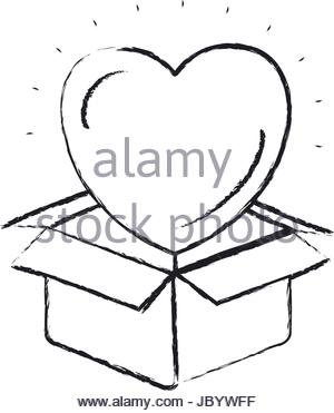300x371 Silhouette Heart Coming Out Of Cardboard Box Stock Vector Art