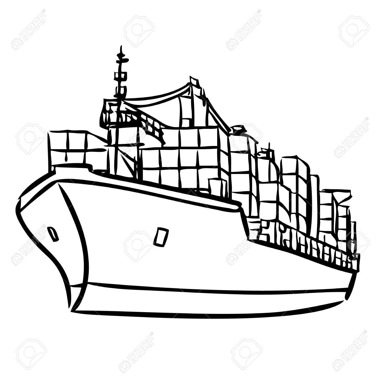 1300x1300 Freehand Sketch Illustration Of Cargo Ship With Containers Icon