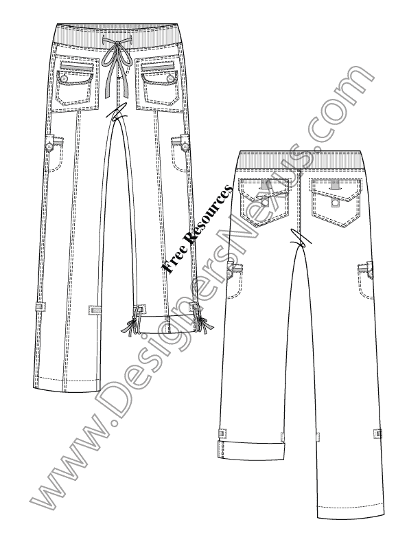 612x792 Illustrator Fashion Flat Sketch Rib Knit Drawstring Waist Pants