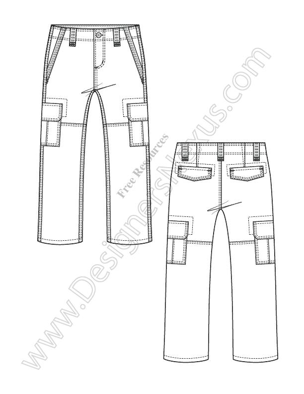 612x792 V35 Kids Cargo Pants Fashion Flat Sketch