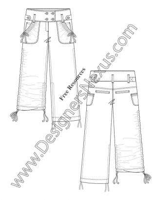 316x409 V44 Flat Sketch Wide Waist Cinch Leg Cargo Pants Flat Sketch