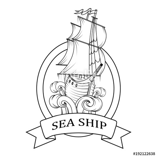 500x500 Sailing Ship. Retro Cargo Ship. Sailing Ship. Sailing Boat Logo
