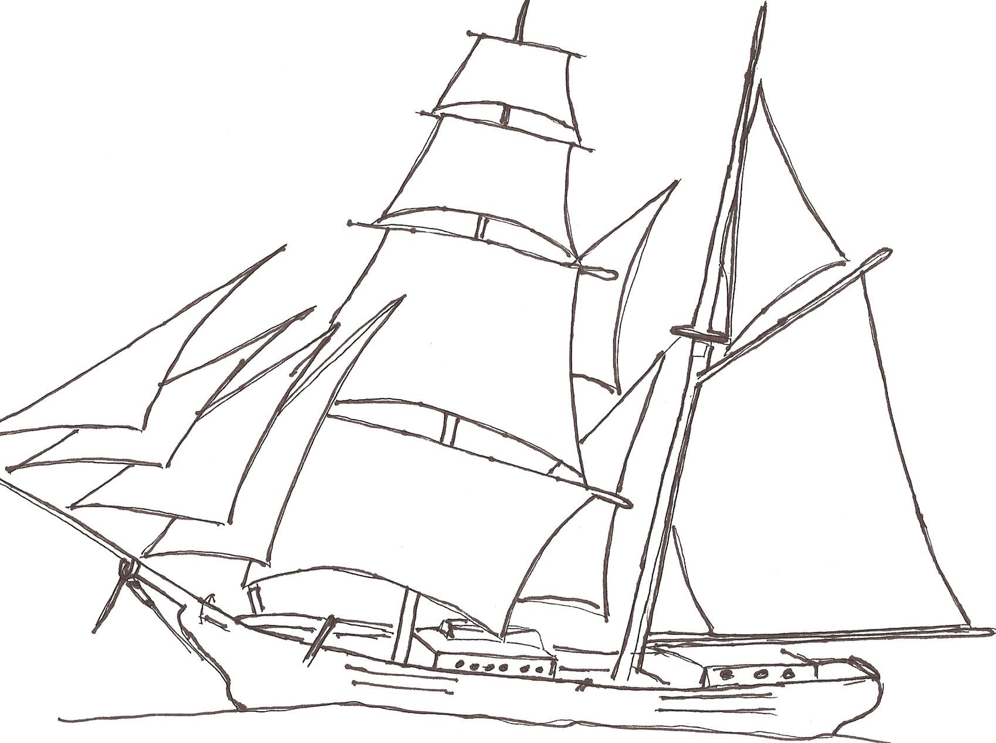 3394x2534 Pin Drawn Ship Tall Ship 3. Drawing Ships 1. Galleon Sail Ship