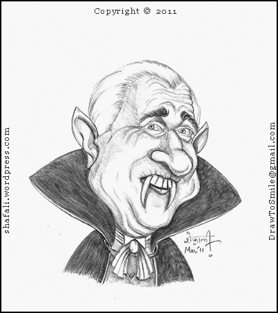400x451 Caricaturecartoon Leslie Nielsen As Count Dracula The Vampire