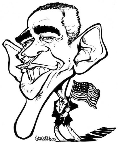 410x500 Barack Obama By Stieglitz Famous People Cartoon Toonpool