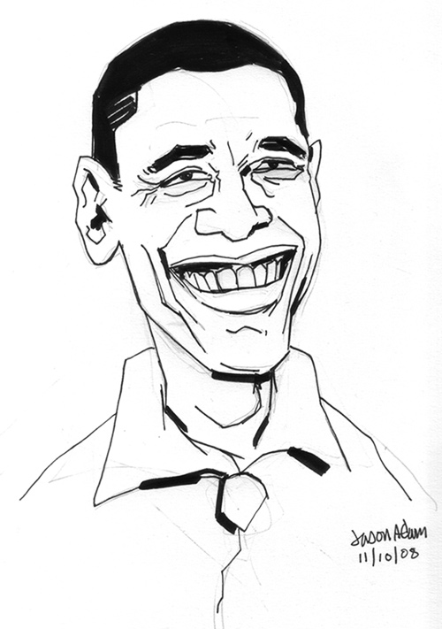 500x711 Drawing Of Barack Obama Also Barack Obama Caricature Further