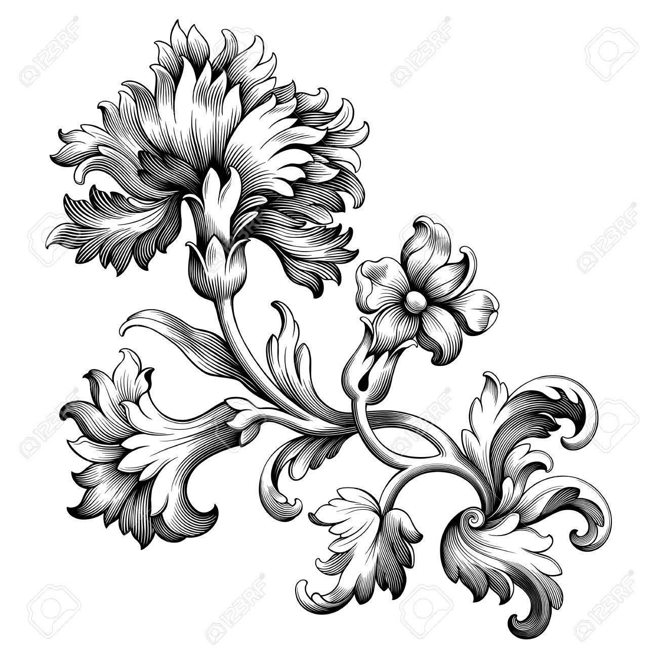 1300x1300 Rose Peony Carnation Flower Vintage Baroque Victorian Frame Border