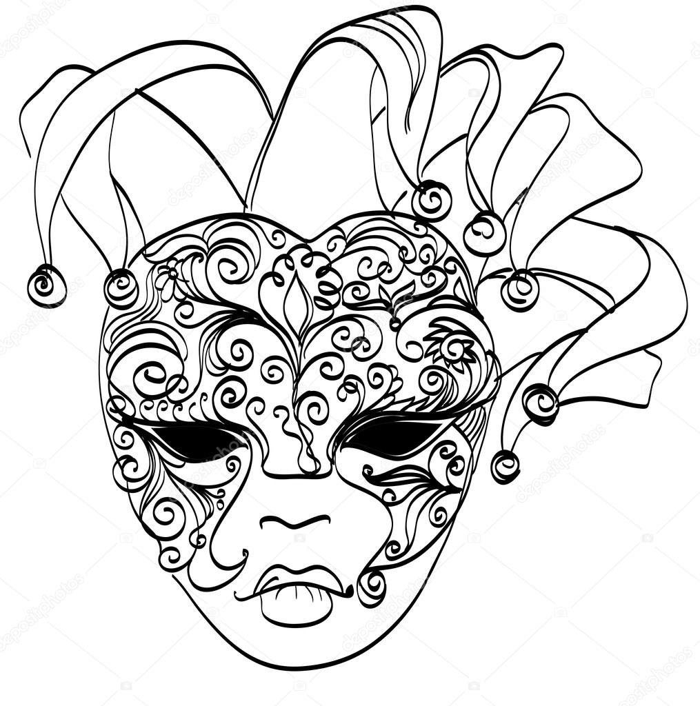 1015x1024 Vector Sketch Venetian Mask. Carnival Mask From Venice Italy