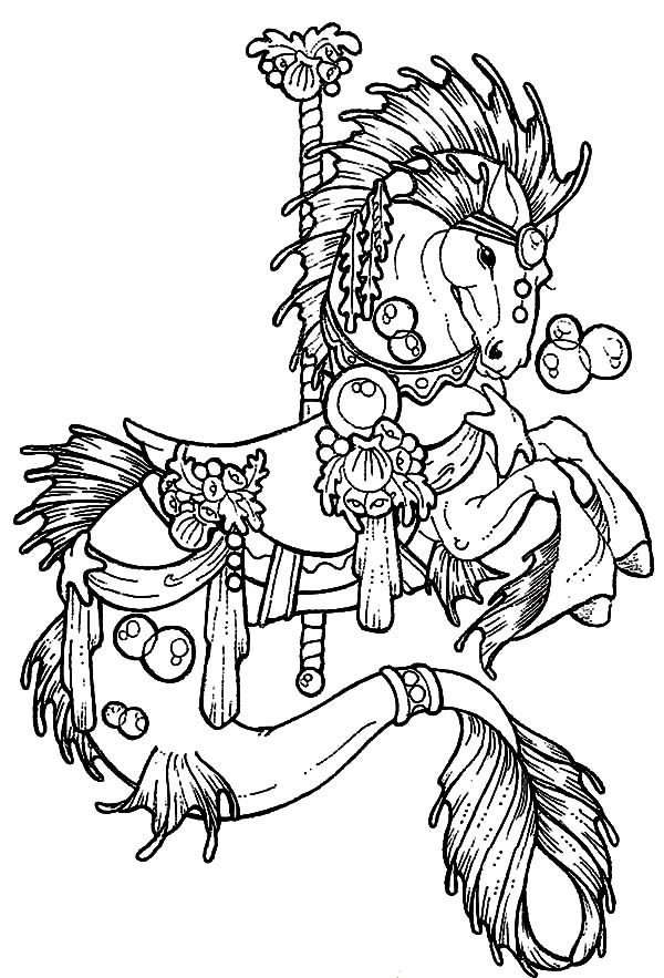 600x883 Carousel Horse Hippocampus Coloring Pages Best Place To Color