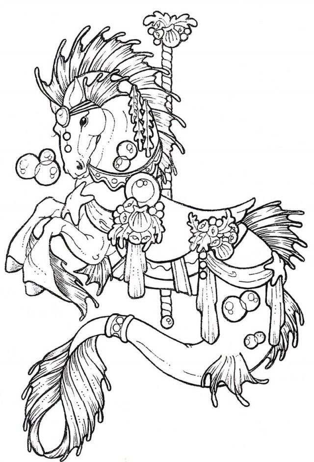 640x941 Horse Carousel Colouring Pages 234596 Coloring Page