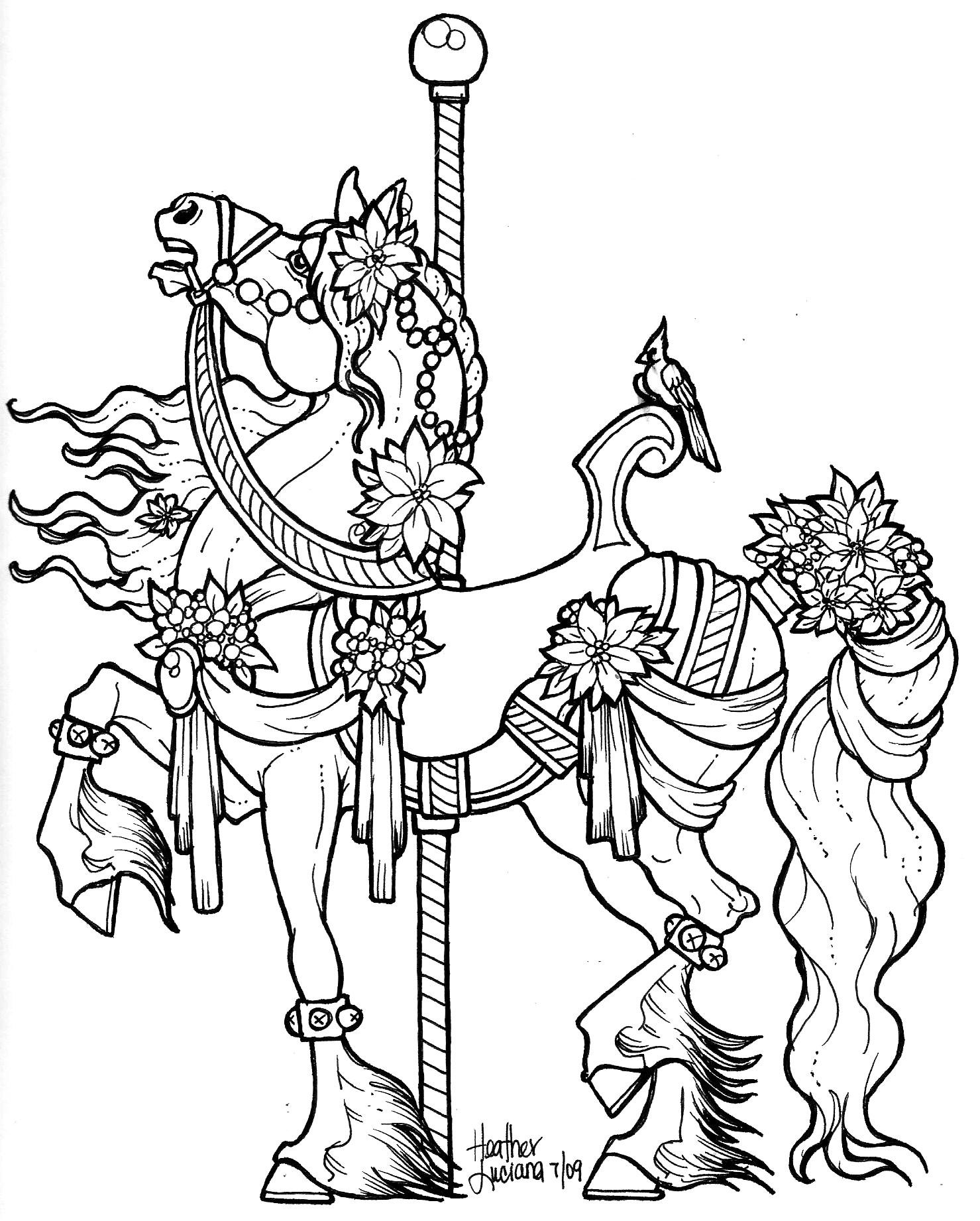 Carousel Horse Drawing At GetDrawings