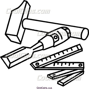 300x300 Chisel Hammer And Ruler Vector Clip Art