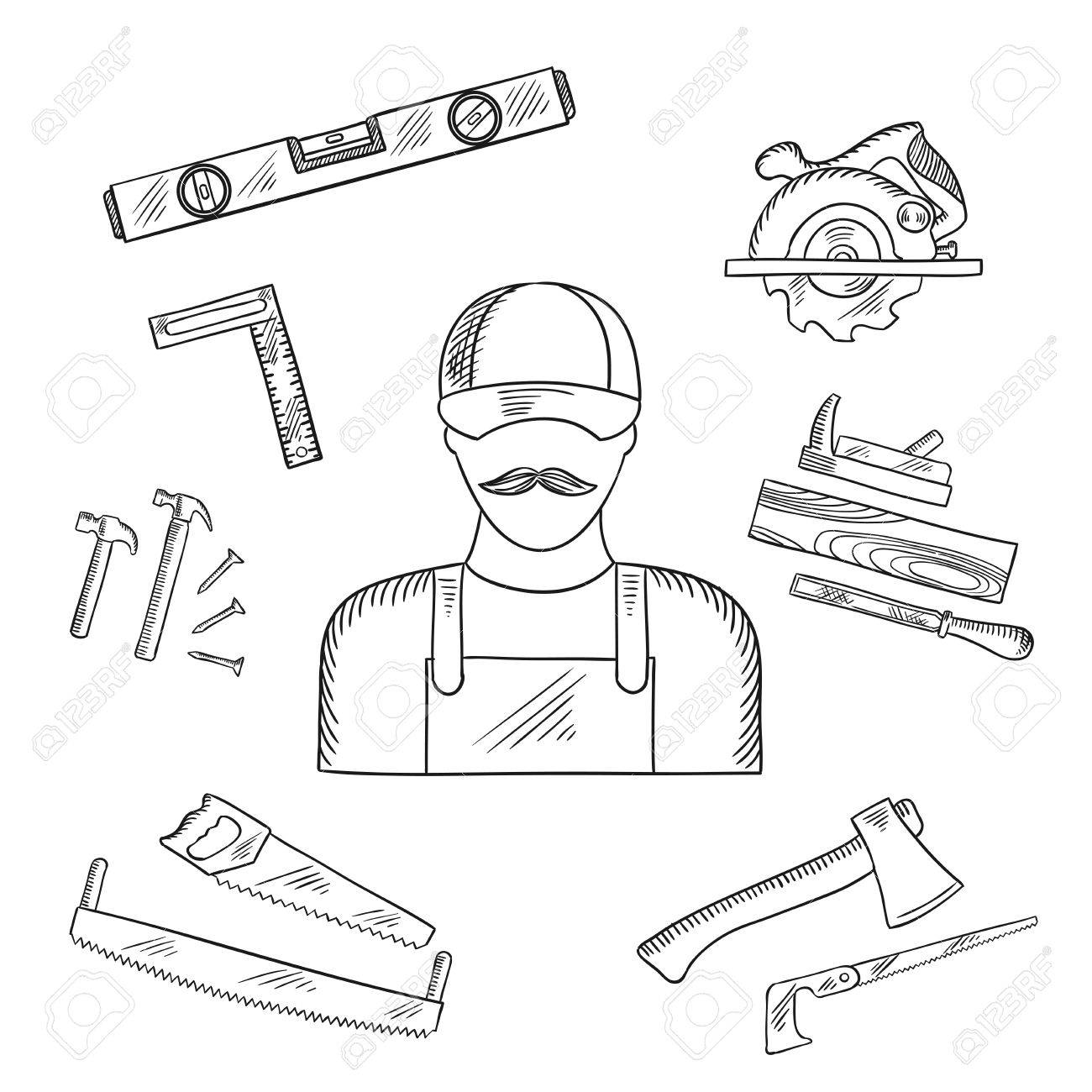 1300x1300 Carpenter And Toolbox Tools Sketches With Hammer, File, Axe