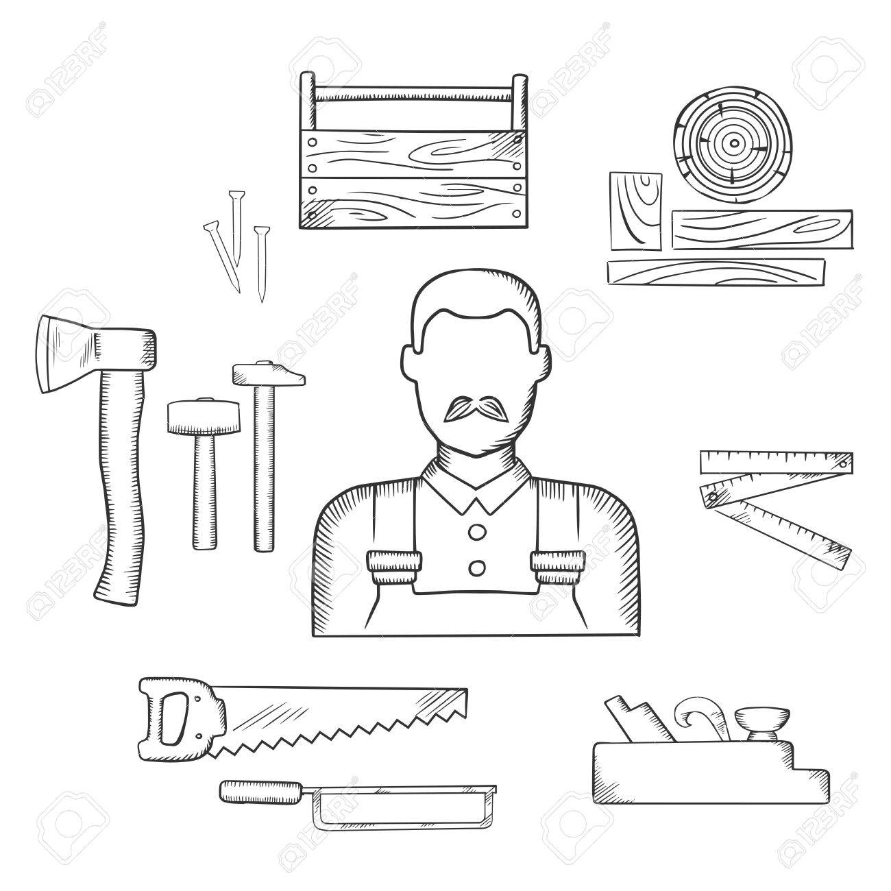 1300x1300 Carpenter Profession Sketch Icons With Moustached Man, Timber